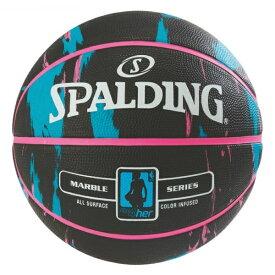 バスケットボール SPALDING ラバーボール フォーハー ブラック×ブルー 6号 外用
