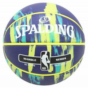バスケットボール SPALDING ラバーボール マーブル ネイビー×マルチ 7号 外用