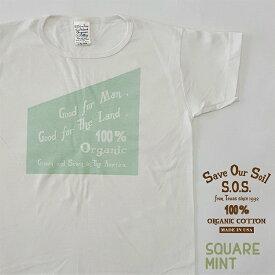 送料無料 [SOS from Texas SCOOP PRINT TEE] Tシャツ シャツ 半袖 オーガニック organic コットン cotton オーガニックコットン organiccotton 生地 下着 白 ホワイト 生成り クリーム アメリカ製 [エスオーエス スクープ プリントティー]