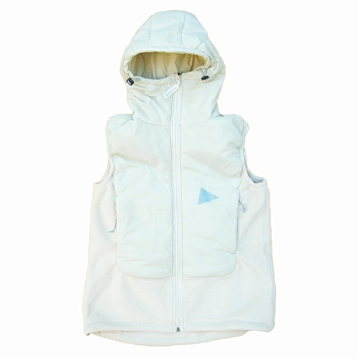 and wander-アンドワンダーWomens Twill Fleece Vest-Off White-