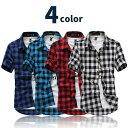 4color チェックシャツ 半袖 ライトクロス使用 メンズ レディース ユニセックス 男女兼用 シンプル カジュアルシャツ ネルシャツ ギンガムチェック バッファローチェック 赤 白 紫 チェック