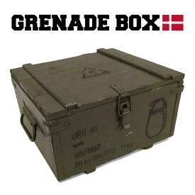 【送料無料】ミリタリー デンマーク軍 グレネードボックス 箱 木箱 軍モノ 軍物 USED ヴィンテージ インテリア 収納 片開き 積み重ね おしゃれ かっこいい 緑 グリーン カーキ got-0011