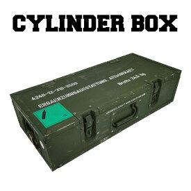 【送料無料】ミリタリー シリンダー ボックス 箱 木箱 木 軍モノ 軍物 USED ヴィンテージ インテリア 収納 片開き 積み重ね おしゃれ かっこいい 緑 グリーン カーキ got-0013