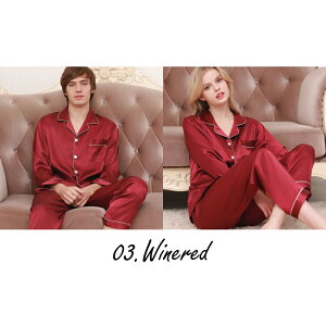 男女サテンパジャマ長袖27