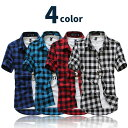 4color チェックシャツ 半袖 ライトクロス使用 メンズ レディース ユニセックス 男女兼用 シンプル カジュアルシャツ …