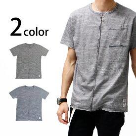 ボーダーTシャツ 半袖 メンズ トップス カットソー リメイク 春 夏 ブラック 黒 rot-2001