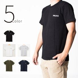 5color Police Tシャツ ポリス 半袖 クルーネック メンズ レディース 無地 Tシャツ Army ロゴ カレッジロゴ ミリタリー アメカジ トップス カットソー ティーシャツ ロゴT 黒 ブラック 白 ホワイト 緑 グリーン 紺 Tシャツ tat-0002