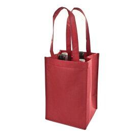 TRUE ボトルトートバッグ ワインレッド 4本用 不織布 エコバッグ