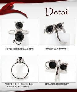 ダイヤモンドの首輪が輝くブラックオニキスのクールな黒猫ちゃんリング(WGK18)