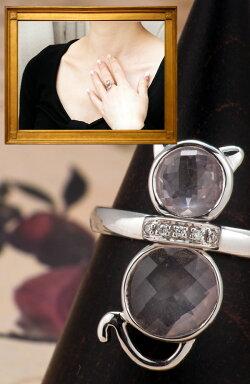 【送料無料】ダイヤモンドの首輪が輝ローズクォーツのキュートなピンク猫ちゃんリング(WGK18)