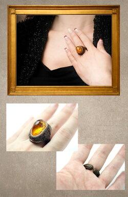 【送料無料】【カラー・茶】ハンドメイドの迫力■大胆で繊細!大きな美しい琥珀の天然革リング