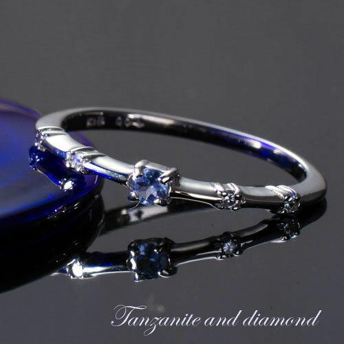 【送料無料】タンザナイト ダイヤモンド リング 指輪 WGK18 ジュエリー アクセサリー レディースジュエリー 品質保証 プレゼント 贈り物 ファッション セレクトジュエリー 30代 40代 50代