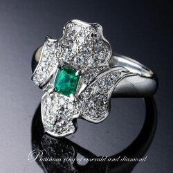 まばゆい輝きのダイヤモンドと美しいエメラルドの豪華なハンドメイドリング(Pt900)
