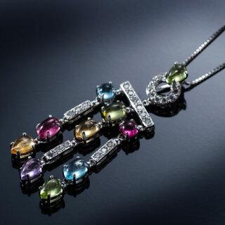 】【送料無料】美しいダイヤモンド・ペリドット・アメジスト・ブルートパーズ・シトリン・ピンクトルマリンが輝く3連ネックレス(K18)【即日発送可】【限定1点】