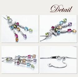 【送料無料】美しいダイヤモンド・ペリドット・アメジスト・ブルートパーズ・シトリン・ピンクトルマリンが輝く3連ネックレス(K18)【即日発送可】【限定1点】