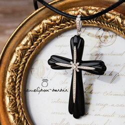 【送料無料】漆黒オニキス&ダイヤモンドの大きな豪華十字架ネックレストップ(WGK18)【本革チョーカープレゼント】