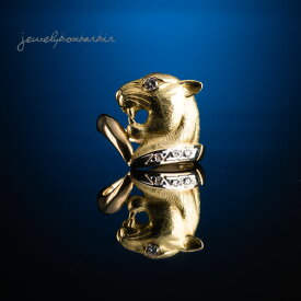 Pt900 K18 ダイヤモンド パンテール パンサー 豹 リング 指輪 猫 ピンキーリング アニマル ジュエリー アクセサリー レディースジュエリー プレゼント ファッション 30代 40代 50代 60代 送料無料