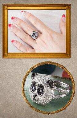 白黒パンダリングダイヤモンドパンダリングパンダリングダイヤモンドリング【リングサイズ13号】
