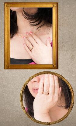 【送料無料】豪華☆マイクロセッティングのダイヤモンドがまばゆいほど輝く大きなハートチェーンリング(K18PG)【リングサイズ12号】