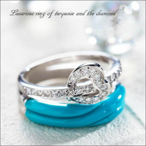 【送料無料】天然 ターコイズ トルコ石 ダイヤモンド ハートリング 指輪 ジュエリー アクセサリー レディースジュエリー 品質保証 プレゼント 贈り物 ファッション セレクトジュエリー 30代 40代 50代