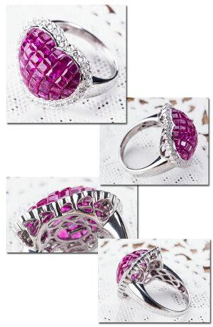 ルビーダイヤモンドハートリングミステリーセッティング指輪【送料無料】【楽ギフ_包装】
