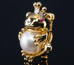 南洋白真珠パールネックレスカエルブローチK18かえるネックレス・ペンダントレディースジュエリー・アクセサリープレゼント【送料無料】【楽ギフ_包装】