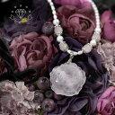 送料無料 【薔薇シリーズ パール】大きな薔薇のローズクォーツと天然パールのロマンチックなネックレス 天然石 ロングネックレス レデ…