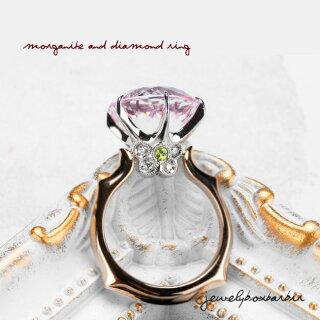 PGK18/Pt900モルガナイトダイヤモンドリング姫プリンセス指輪ピンクゴールドプラチナハイジュエリーアクセサリーレディースジュエリー品質保証プレゼント贈り物ファッションセレクトジュエリーリングサイズ10号【送料無料】