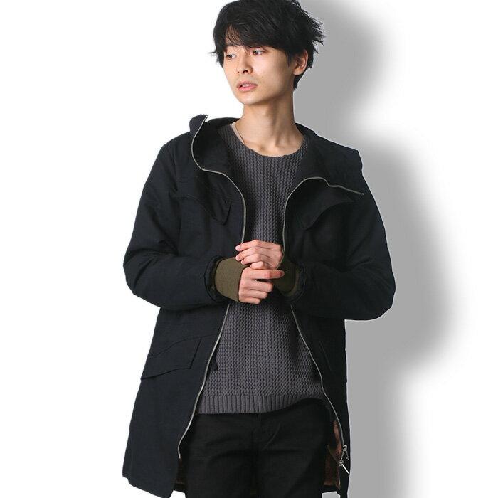BUZZ WEAR ロング丈モッズコート メンズ 秋冬春用 黒/緑 M-XL