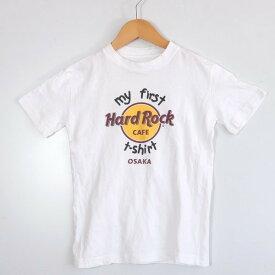 [美品] ハードロック Hard Rock Caf? ビッグロゴ Tシャツ キッズ 半袖 クルーネック ハードロックカフェ 男の子 女の子 ホワイト ブランド古着 【中古】