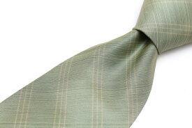 カルバンクライン Calvin Klein アラ商事 ストライプ柄 グリーン 緑 シルク ブランド ネクタイ 送料無料 【中古】【良品】