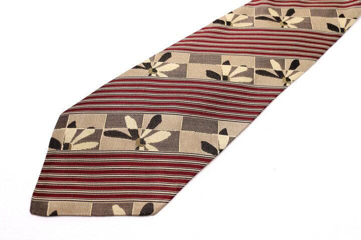 レノマ renoma ストライプ柄 レッド 赤 シルク イタリア製 ブランド ネクタイ 送料無料 【中古】【良品】