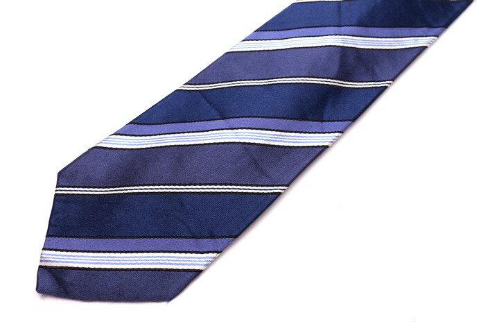 ダナキャランニューヨーク DONNA KARAN DKNY ストライプ柄 ブルー 青 シルク 日本製 ブランド ネクタイ 送料無料 【中古】【良品】