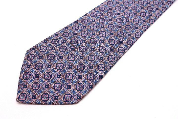 クレージュ COURREGES 総柄 ブルー 青 シルク イタリア製 ブランド ネクタイ 送料無料 【中古】