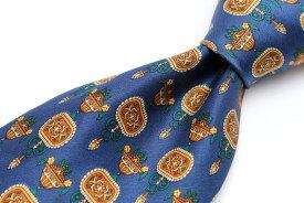 リッチェル RICHEL 小紋柄 ブルー 青 シルク スペイン製 ブランド ネクタイ 送料無料 【中古】【良品】
