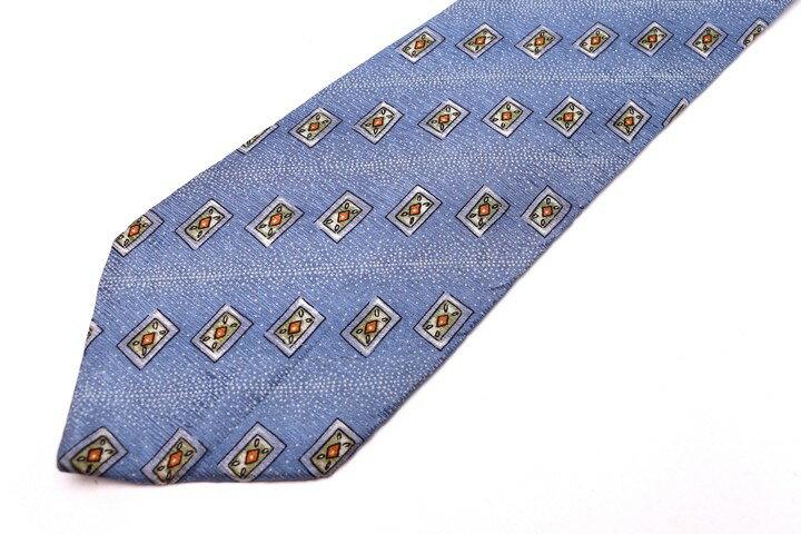 クレージュ COURREGES ストライプ柄 ブルー 青 シルク イタリア製 ブランド ネクタイ 送料無料 【中古】【良品】
