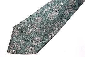 レノマ renoma 花柄 グリーン 緑 シルク ブランド ネクタイ 送料無料 【中古】【良品】