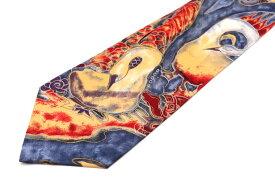 クラウディオヴァレンチノ CLAUDIO VALENTINO 白鳥モチーフ 動物柄 ブルー 青 シルク ブランド ネクタイ 送料無料 【中古】【美品】