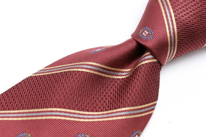 レノマ renoma ロゴグラム ストライプ柄 レッド 赤 シルク 日本製 ブランド ネクタイ 送料無料 【中古】