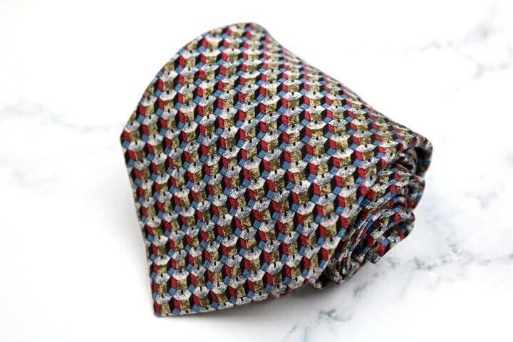 エステーデュポン S.T.Dupont 総柄 レッド 赤 シルク イタリア製 ブランド ネクタイ 送料無料 【中古】