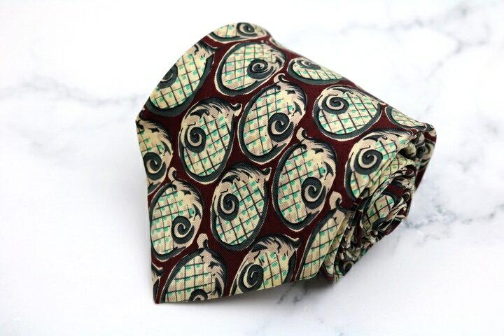 レノマ renoma 総柄 レッド 赤 シルク イタリア製 ブランド ネクタイ 送料無料 【中古】