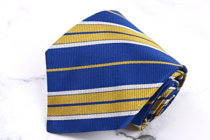 トラサルディ TRUSSARDI コットン ストライプ柄 ブルー 青 シルク イタリア製 ブランド ネクタイ 送料無料 【中古】