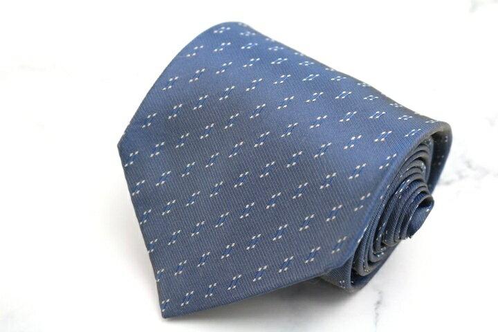 ダナキャラン DONNA KARAN DKNY 小紋柄 ブルー 青 シルク 日本製 ブランド ネクタイ 送料無料 【中古】【良品】