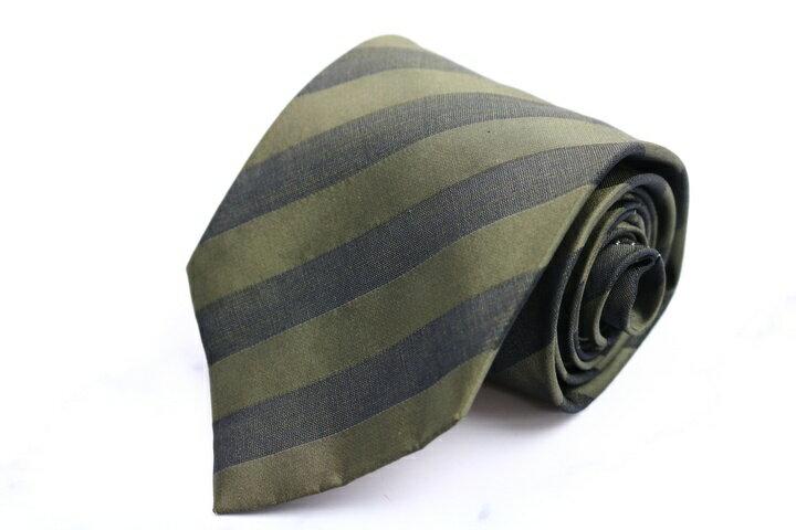 ダナキャラン DONNA KARAN DKNY ストライプ柄 グリーン 緑 シルク イタリア製 ブランド ネクタイ 送料無料 【中古】