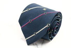 セリーヌ CELINE ストライプ柄 ネイビー 紺 シルク スペイン製 ブランド ネクタイ 送料無料 【中古】