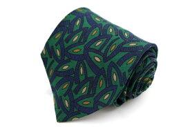 ランバン LANVIN 総柄 緑 緑 シルク イタリア製 ブランド ネクタイ 送料無料 【中古】