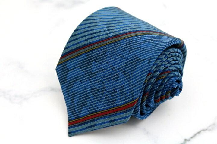 ジバンシー ジバンシィ GIVENCHY ジバンシイ ストライプ柄 ブルー 青 シルク イタリア製 ブランド ネクタイ 送料無料 【中古】【良品】
