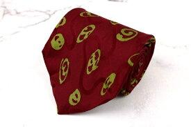 モンタナ Mantana イタリア製 球体柄 レッド シルク ブランド ネクタイ 送料無料 【中古】【良品】