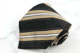 カナーリ CANALI イタリア高級スーツブランド 刺繍 シルク イタリア製 ストライプ柄 ブラック シルク ブランド ネクタイ 送料無料 【中古】【良品】