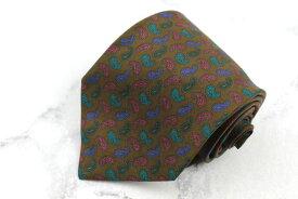 フランコバッシ FRANCO BASSI シルク イタリア製 ペイズリー柄 ブラウン シルク ブランド ネクタイ 送料無料 【中古】【美品】